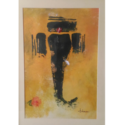 ganesha in black 001, 8 x 11 inch, bhawna dhigra,religious paintings,paintings for living room,ganesha paintings,handmade paper,acrylic color,8x11inch,GAL028897230,vinayak,ekadanta,ganpati,lambodar,peace,devotion,religious,lord ganesha,lordganpati,ganpati bappa morya,ganesh chaturthi,ganesh murti,elephant god,religious,lord ganesh,ganesha,om,hindu god,shiv parvati, putra,bhakti,blessings,aashirwad,pooja,puja,aarti,ekdant,vakratunda,lambodara,bhalchandra,gajanan,vinayak,prathamesh,vignesh,heramba,siddhivinayak,mahaganpati,omkar,mushak,mouse,ladoo,modak