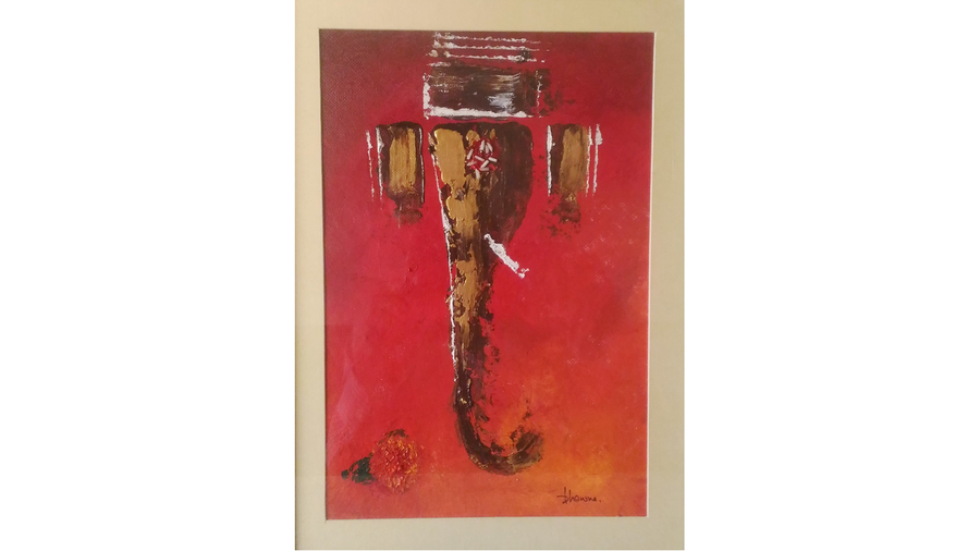 ganesha  in red, 8 x 11 inch, bhawna dhigra,religious paintings,paintings for living room,handmade paper,acrylic color,8x11inch,GAL028897236