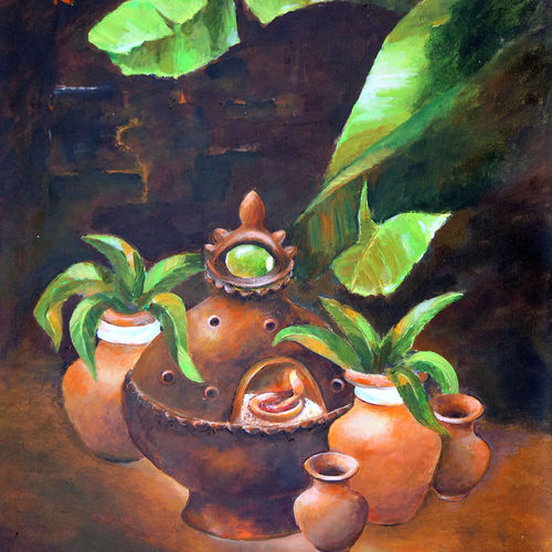 still life , 26 x 37 inch, dwijen bora,still life paintings,paintings for living room,canvas,acrylic color,26x37inch,GAL028797238