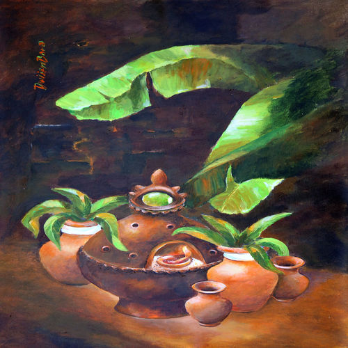 still life , 26 x 37 inch, dwijen bora,still life paintings,paintings for living room,vertical,canvas,acrylic color,26x37inch,GAL028797240