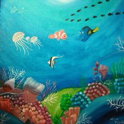 water creations, 18 x 18 inch, neha  pandya,paintings,nature paintings,paintings for living room,canvas,oil,18x18inch,GAL029007241Nature,environment,Beauty,scenery,greenery