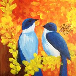 autumn chirps, 8 x 12 inch, harshangda bhatnagar,nature paintings,paintings for living room,canvas,acrylic color,8x12inch,GAL026557246Nature,environment,Beauty,scenery,greenery
