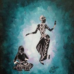 nrityangana- the indian goddess of dance, 8 x 12 inch, harshangda bhatnagar,conceptual paintings,paintings for office,canvas,acrylic color,8x12inch,GAL026557247