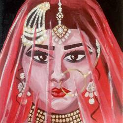 the bhopali bride, 12 x 16 inch, harshangda bhatnagar,contemporary paintings,paintings for living room,canvas,acrylic color,12x16inch,GAL026557248