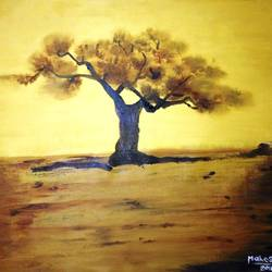 tree, 31 x 23 inch, mahesh bommanalli,landscape paintings,paintings for bedroom,canvas,acrylic color,31x23inch,GAL0364725