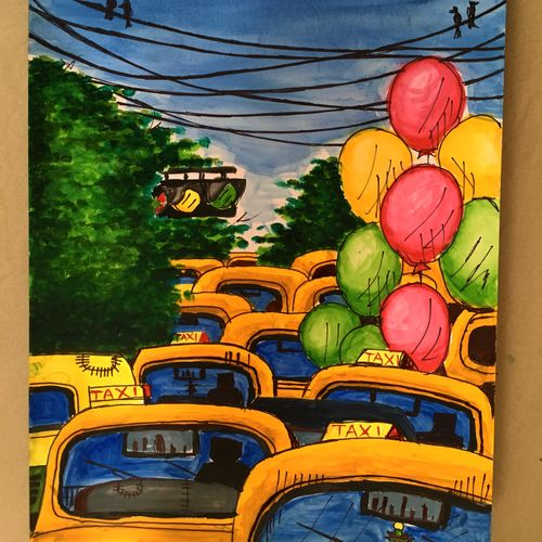 the yellow heads, 12 x 17 inch, suvrojit choudhury,cityscape paintings,paintings for living room,thick paper,watercolor,12x17inch,GAL028917251