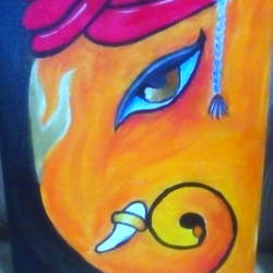 easy ganpati canvas, 8 x 10 inch, amol khatri,religious paintings,paintings for living room,canvas,acrylic color,8x10inch,GAL029097252