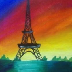 eiffel tower canvas, 10 x 12 inch, amol khatri,cityscape paintings,paintings for living room,canvas,acrylic color,10x12inch,GAL029097253