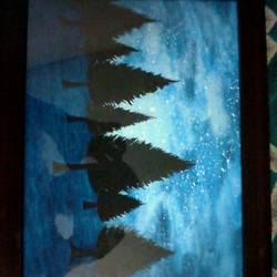 night woods, 13 x 9 inch, ayush singh,paintings,paintings for living room,landscape paintings,canvas,poster color,13x9inch,GAL029107256
