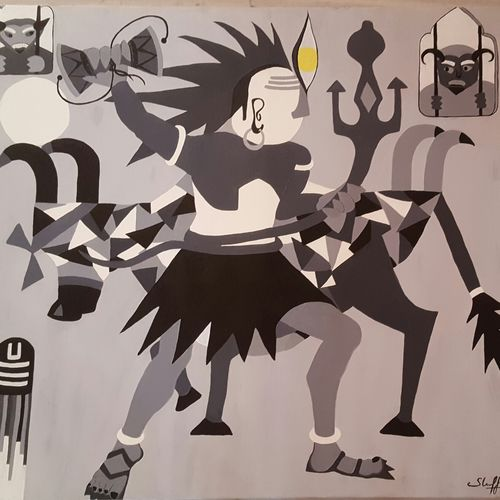 the maha shiva, 36 x 42 inch, steffi sihag,cubist paintings,paintings for living room,lord shiva paintings,canvas,acrylic color,36x42inch,GAL029147259