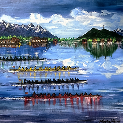 tyndale biscoe boys on a school regatta day, 24 x 24 inch, neeraj raina,nature paintings,paintings for living room,canvas,acrylic color,24x24inch,GAL0273726Nature,environment,Beauty,scenery,greenery