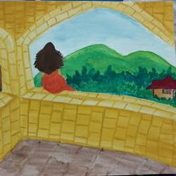 a girl on her balcony, 12 x 8 inch, aiswarya b,nature paintings,paintings for living room,canvas,watercolor,12x8inch,GAL029167261Nature,environment,Beauty,scenery,greenery