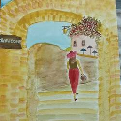 a lady on the entrance, 12 x 8 inch, aiswarya b,cubist paintings,paintings for living room,canvas,watercolor,12x8inch,GAL029167263