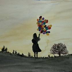 girl with multi colored balloons, 12 x 8 inch, aiswarya b,art deco paintings,paintings for living room,canvas,watercolor,12x8inch,GAL029167264
