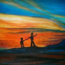 father son, 16 x 33 inch, sayani sur,landscape paintings,paintings for living room,thick paper,pastel color,16x33inch,GAL029087268