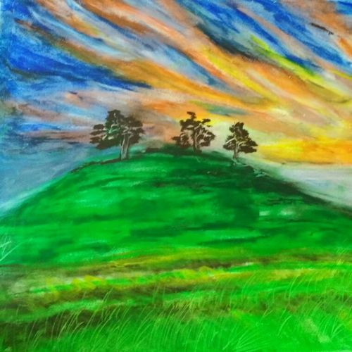 windy field, 16 x 33 inch, sayani sur,landscape paintings,paintings for living room,thick paper,pastel color,16x33inch,GAL029087269