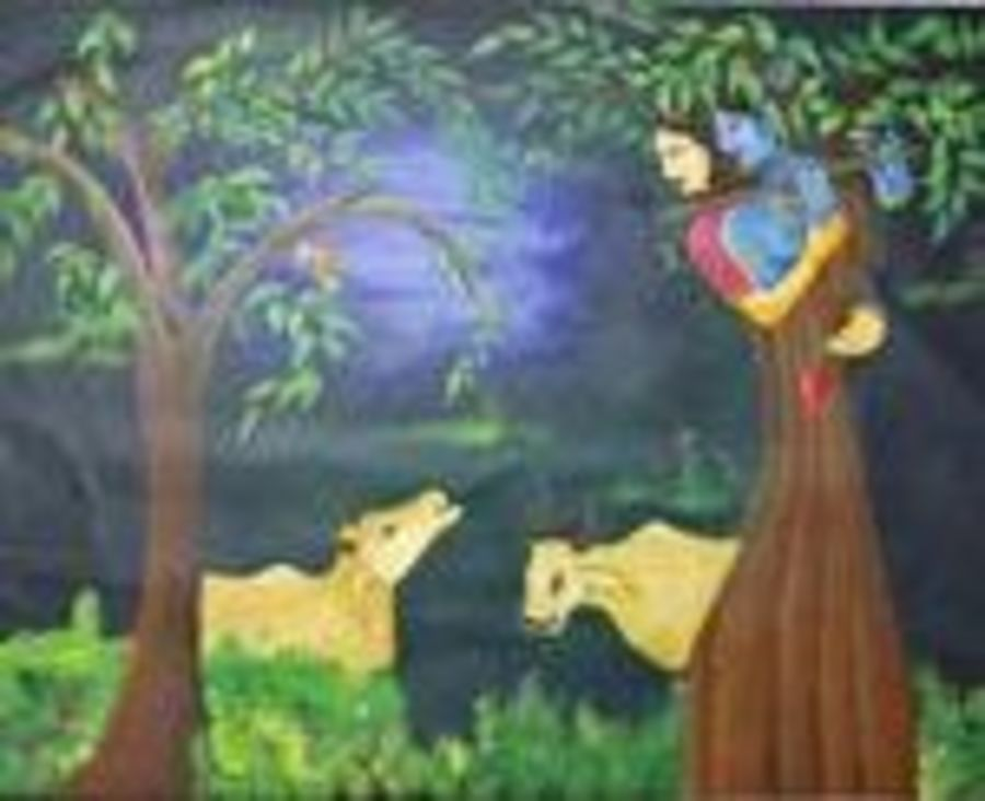 radha krishna with cow, 42 x 32 inch, vishal  tajanpure,conceptual paintings,paintings for living room,radha krishna paintings,canvas,acrylic color,42x32inch,GAL0373727