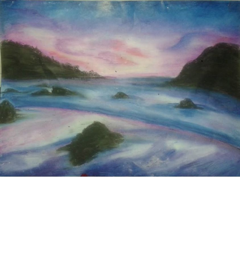 shore, 8 x 11 inch, sayani sur,landscape paintings,paintings for dining room,paper,pastel color,8x11inch,GAL029087270
