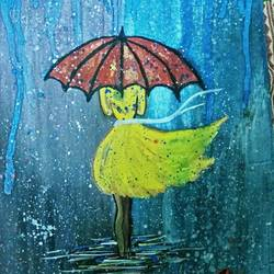 girl in the rain, 10 x 15 inch, ruchi baghel,realistic paintings,paintings for office,hardboard,acrylic color,10x15inch,GAL029247279