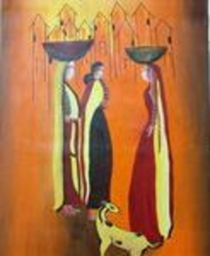 village girls, 28 x 41 inch, vishal  tajanpure,religious paintings,paintings for living room,canvas,acrylic color,28x41inch,GAL0373728
