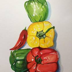 bell peppers , 12 x 9 inch, amita dand,still life paintings,paintings for dining room,thick paper,watercolor,12x9inch,GAL014677292