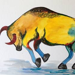bull , 12 x 9 inch, amita dand,animal paintings,paintings for office,thick paper,watercolor,12x9inch,GAL014677293