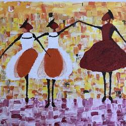 modern art women dancing, 18 x 25 inch, meenu gupta,modern art paintings,paintings for living room,canvas,acrylic color,18x25inch,GAL016647295