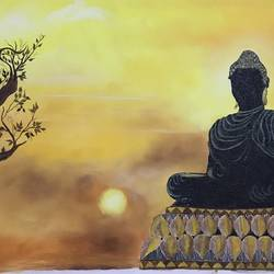 buddha, 18 x 24 inch, meenu gupta,buddha paintings,paintings for living room,canvas,oil paint,18x24inch,religious,peace,meditation,meditating,gautam,goutam,buddha,lord,sun,shadow,black,yellow,GAL016647296