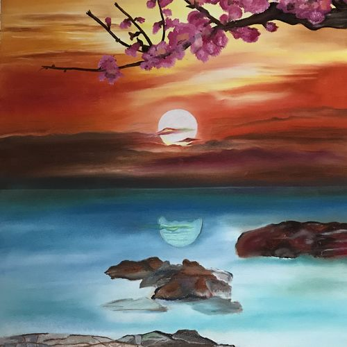 landscape sunset with cherry blossom , 18 x 25 inch, meenu gupta,landscape paintings,paintings for living room,canvas,oil paint,18x25inch,GAL016647297