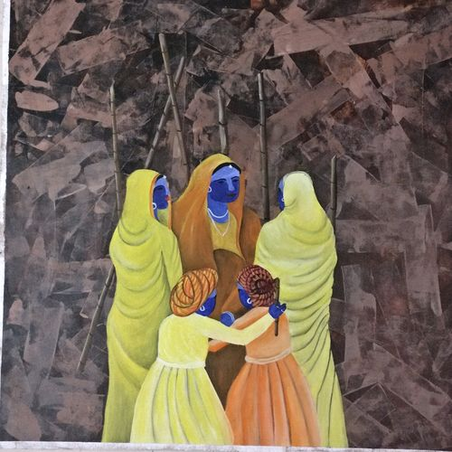 rajastani art, 31 x 31 inch, vishal  tajanpure,religious paintings,paintings for living room,canvas,acrylic color,31x31inch,GAL0373730