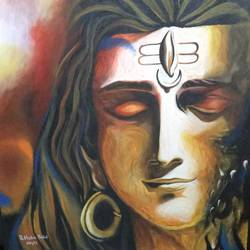 mahadev , 24 x 24 inch, rithika bekal,religious paintings,paintings for living room,canvas,acrylic color,24x24inch,GAL029317300