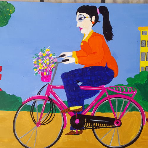 enjoy rideing, 22 x 15 inch, steffi sihag,figurative paintings,ivory sheet,acrylic color,22x15inch,GAL029147304