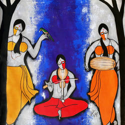 playing with music, 30 x 30 inch, chetan katigar,figurative paintings,paintings for living room,vertical,canvas,acrylic color,30x30inch,GAL02667306
