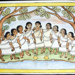 festival, 21 x 13 inch, doddi tulsi,folk art paintings,paper,natural color,21x13inch,GAL029307310