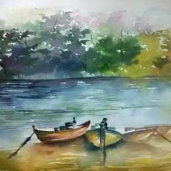 an evening in wondalur beach - andamans, 21 x 14 inch, dipankar  biswas,landscape paintings,paintings for living room,handmade paper,watercolor,21x14inch,GAL029327316