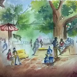 a park in kolkata, 14 x 10 inch, dipankar  biswas,landscape paintings,paintings for living room,handmade paper,watercolor,14x10inch,GAL029327317