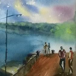 landscape an evening stroll - andamans, 10 x 14 inch, dipankar  biswas,landscape paintings,paintings for living room,handmade paper,watercolor,10x14inch,GAL029327318