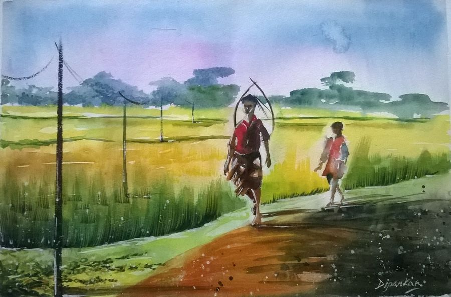 way back home - kharibari west bengal, 21 x 14 inch, dipankar  biswas,landscape paintings,paintings for living room,handmade paper,watercolor,21x14inch,GAL029327319