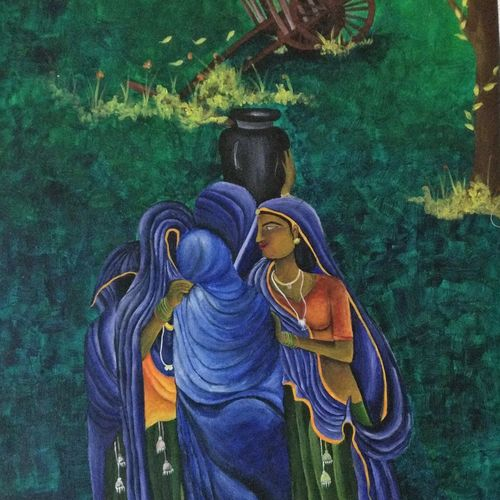 village art, 30 x 50 inch, vishal  tajanpure,religious paintings,paintings for living room,canvas,acrylic color,30x50inch,GAL0373732