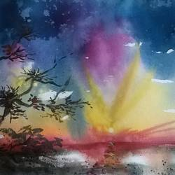 a perfect sunset - seascape, 21 x 14 inch, dipankar  biswas,landscape paintings,paintings for living room,handmade paper,watercolor,21x14inch,GAL029327320