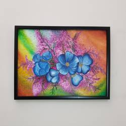 canvas, 13 x 17 inch, faiza lakhani,flower paintings,paintings for living room,canvas,oil,13x17inch,GAL029337323