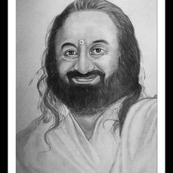 indian spiritual leader sri sri ravi shankar, 10 x 15 inch, shivkumar  menon,portrait drawings,paintings for living room,drawing paper,graphite pencil,10x15inch,GAL09867329