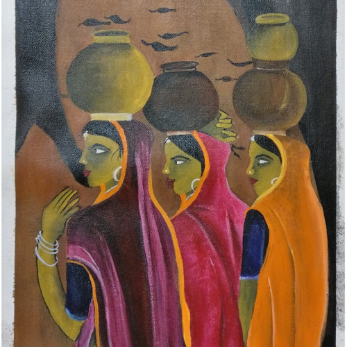 village life, 12 x 29 inch, vishal  tajanpure,religious paintings,paintings for bedroom,canvas,acrylic color,12x29inch,GAL0373733