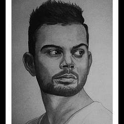 indian cricketer virat kohli, 10 x 14 inch, shivkumar  menon,portrait drawings,paintings for living room,drawing paper,graphite pencil,10x14inch,GAL09867330