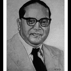 pencil portrait of dr. b. r. ambedkar, 10 x 15 inch, shivkumar  menon,portrait drawings,paintings for living room,drawing paper,graphite pencil,10x15inch,GAL09867331