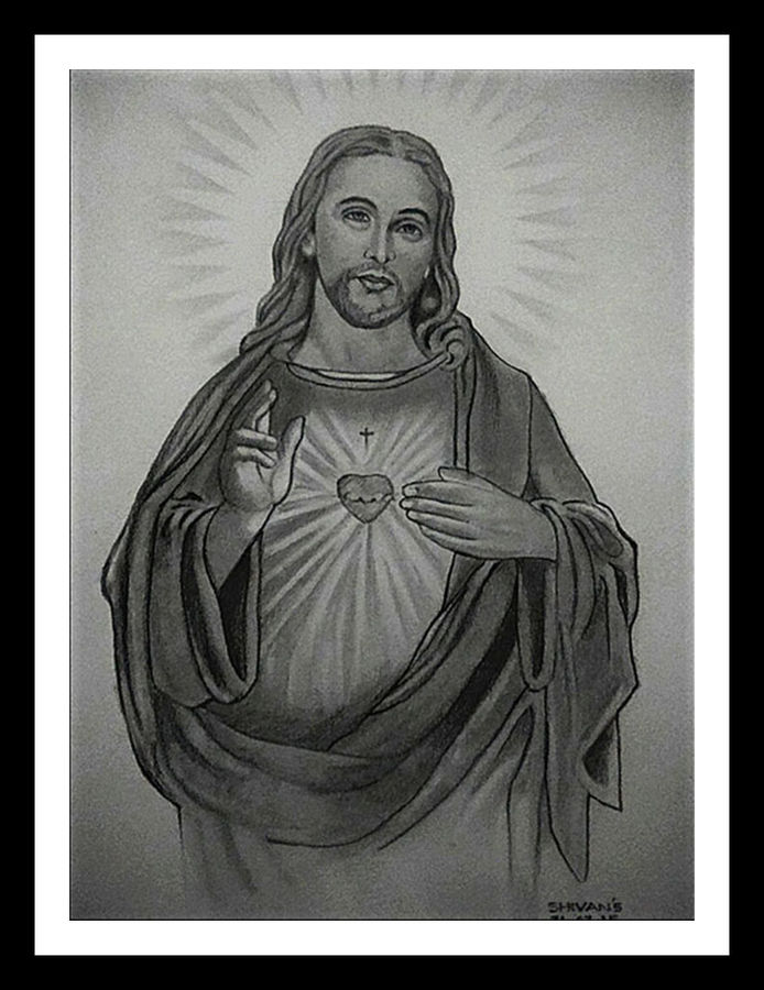 son of god jesus christ, 10 x 14 inch, shivkumar  menon,portrait drawings,paintings for living room,drawing paper,graphite pencil,10x14inch,GAL09867332