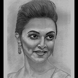 bollywood actress deepika padukone, 10 x 14 inch, shivkumar  menon,portrait drawings,paintings for living room,drawing paper,graphite pencil,10x14inch,GAL09867333