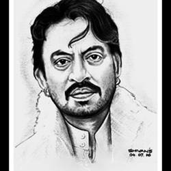 bollywood actor irrfan khan, 10 x 13 inch, shivkumar  menon,portrait drawings,paintings for living room,drawing paper,graphite pencil,10x13inch,GAL09867334