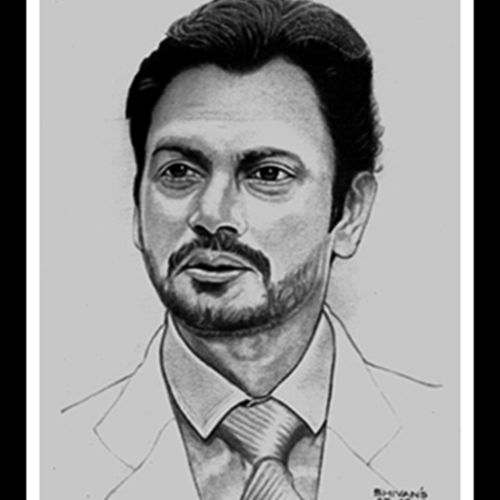 bollywood actor nawazuddin siddiqui, 8 x 11 inch, shivkumar  menon,portrait drawings,paintings for living room,drawing paper,graphite pencil,8x11inch,GAL09867335