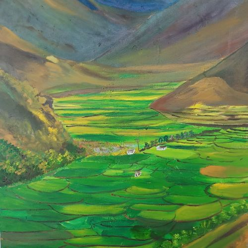 chamba, 22 x 35 inch, ruchira jamwal,landscape paintings,paintings for living room,canvas,oil,22x35inch,GAL029377337